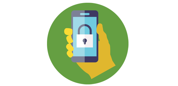 Illustration of a hand holding a cellphone with a lock on the screen