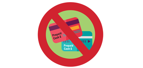 No prepaid cards sign illustration