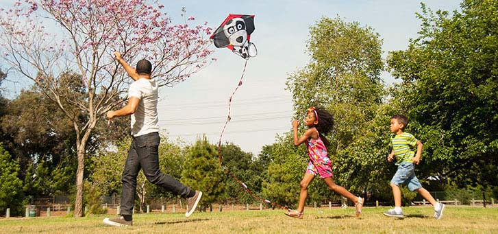 Father flying a kite while the son and daughter are chasing