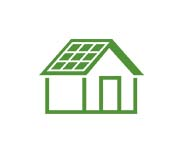 Green house icon with solar panels