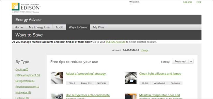 Energy advisor, ways to save page screenshot