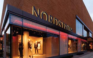 Outside shot of the Nordstrom sign and store