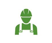 Green utility worker with hard hat