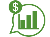 Green icon of a talk bubble with a bar graph and a dollar sign inside it.