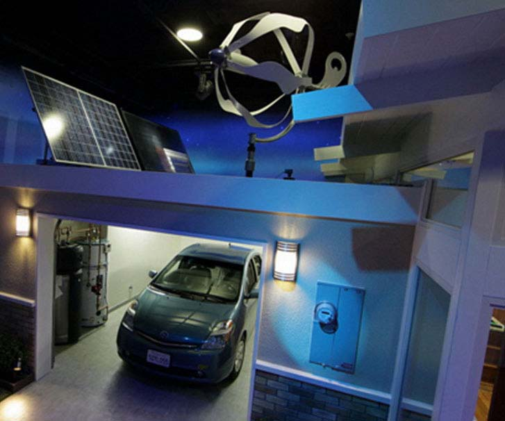 Electric vehicle in garage at night