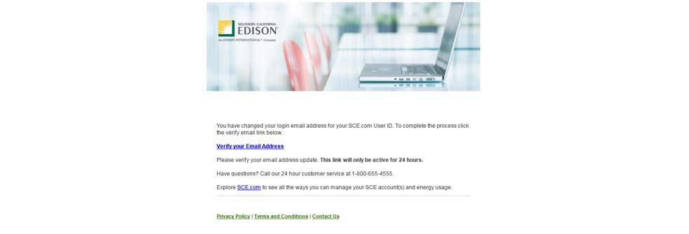 Screen showing the link to verify your email address