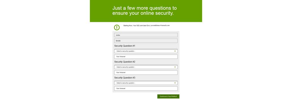 Screen prompting user to update your security questions