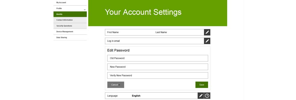 Your Account Setting screen - update your password
