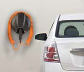 Electric vehicle with a charger attached to a wall