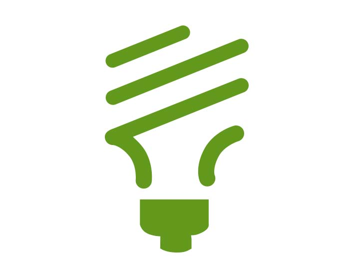 Green icon of electric bulb