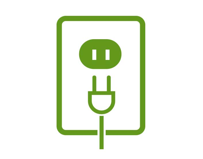 Green icon of outlet and plug