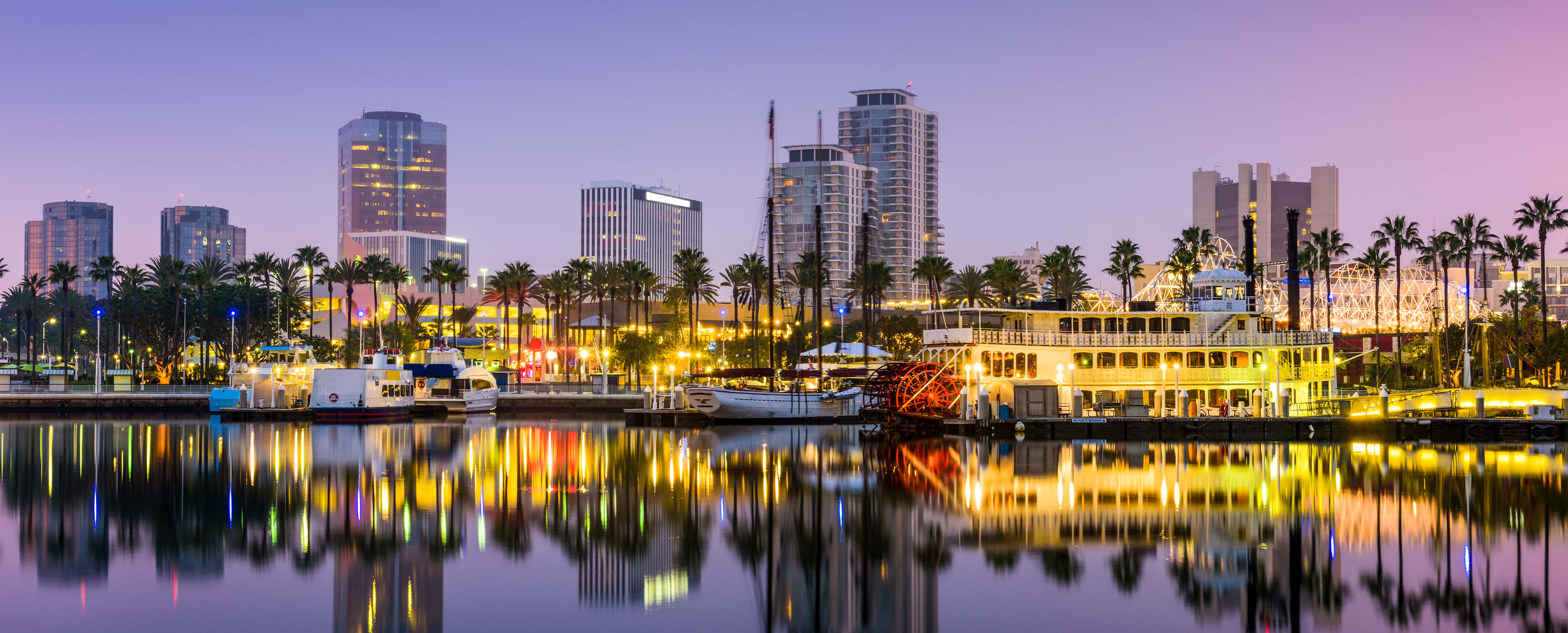 Long Beach, CA skyline at dusk