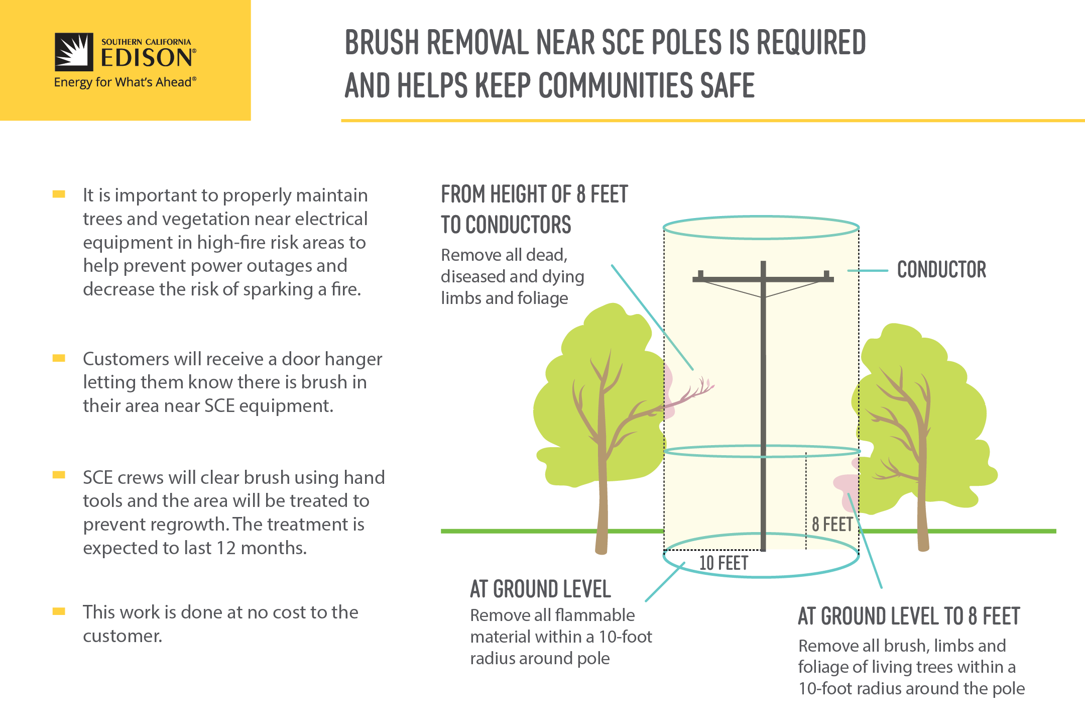 Brush removal near SCE poles is required and helps keep communities safe.